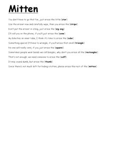 Mitten Rhyme Worksheet Worksheet