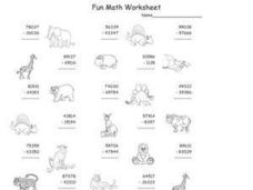 Subtraction: Regrouping (With Animal Graphics) Worksheet