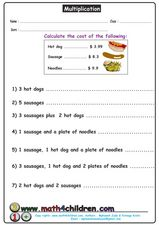 Multiplication Practice: Calculate Cost Worksheet