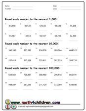 Rounding to the Nearest 1,000, 10,000 and 100,000 Worksheet