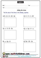 Algebra Practice 2 Worksheet
