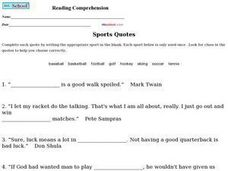 Sports Quotes - Reading Comprehension Worksheet
