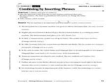 Sentence Fragments, Run-ons, and Combining Sentences Worksheet