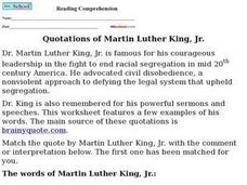 Quotations of Martin Luther King, Jr. Worksheet