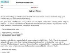 Reading Comprehension: Science News Worksheet