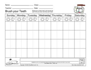 Brush Your Teeth - Recording Sheet Worksheet