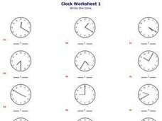 Clock Worksheet 1: Write The Time Worksheet