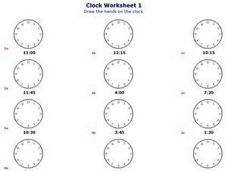 Clock Worksheet Worksheet