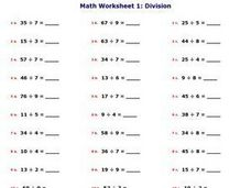 Math Worksheet 3: Division Worksheet