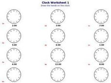 Clock Worksheet 1: On the Hour Worksheet