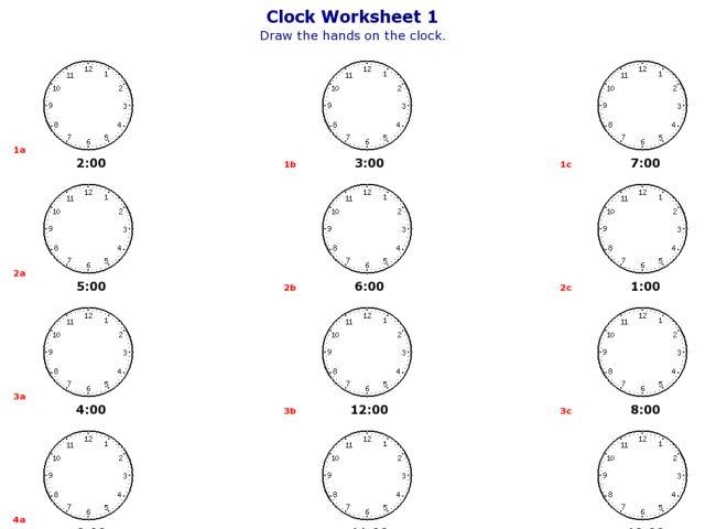 Clock Worksheet 1: On the Hour Worksheet for Kindergarten