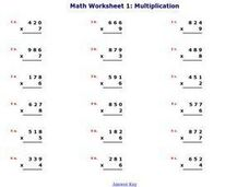 Math Worksheet 1: Multiplication, #7 Worksheet