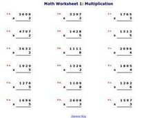 Math Worksheet 1: Multiplication, #8 Worksheet
