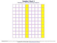 Number Chart 1, #8 Worksheet