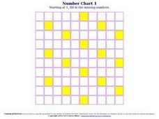 Number Chart 1, #9 Worksheet
