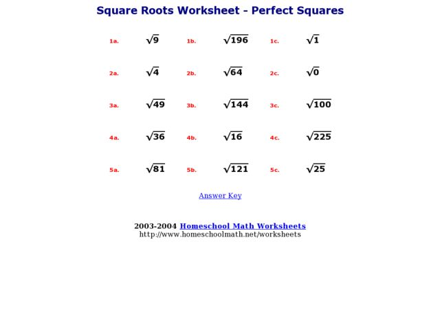 Square Roots Worksheet Perfect Squares 4th 7th Grade Worksheet – Adding Square Roots Worksheet