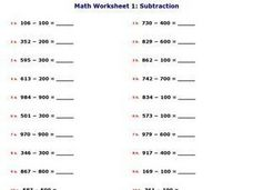Worksheet 6: Subtraction Worksheet