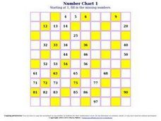 Number Chart 6 Worksheet
