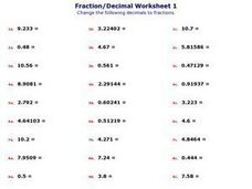 Fraction/Decimal Worksheet Worksheet
