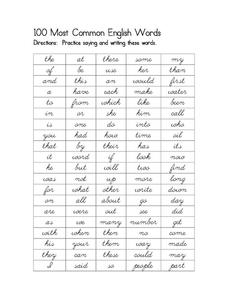 100 Most Common English Words Worksheet