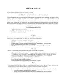 Critical Reading  Worksheet