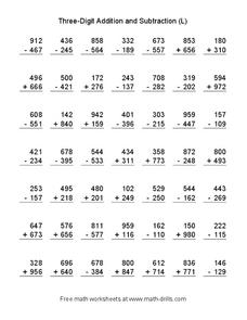 Three Digit Addition and Subtraction (L) Worksheet