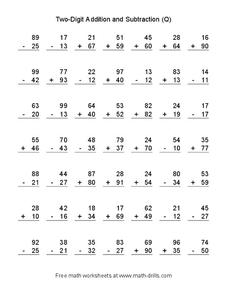 Two-Digit Addition and Subtraction (Q) Worksheet