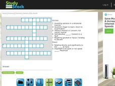 Chemistry Vocabulary Crossword Puzzle Interactive