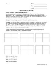Heredity Worksheet: Blood Type Worksheet