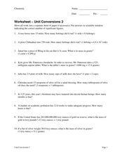 Unit Conversion 2 Worksheet