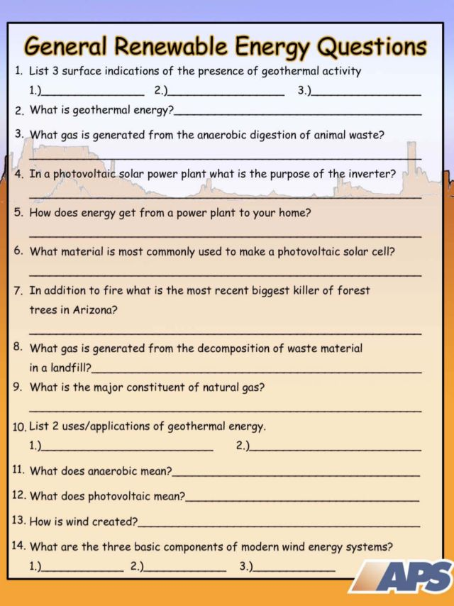 General Renewable Energy Questions Worksheet for 7th - 10th Grade ...