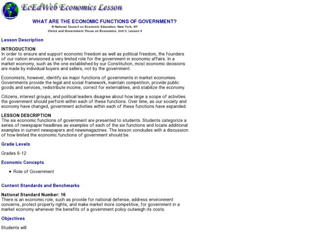 role of government in market economy