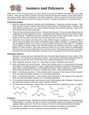 Isomers and Polymers Lesson Plan