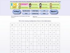 Fill- In Multiplication Grid Problems 30% Open Worksheet