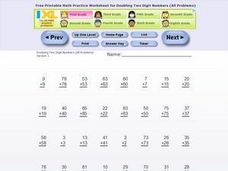 Doubling Two Digit Numbers Worksheet