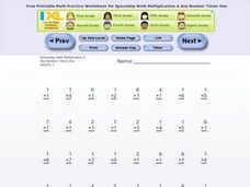 Multiplication x 1 Worksheet