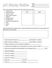 pH Study Guide Worksheet