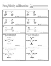 Force, Velocity, and Momentum Worksheet