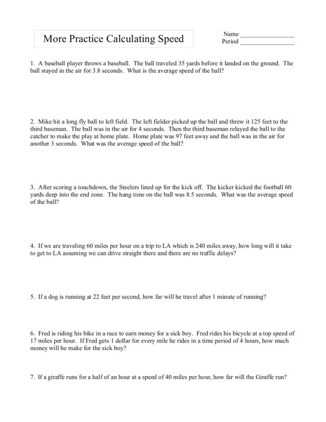 Time Worksheets distance rate time worksheets : More Practice Calculating Speed Worksheet for 9th - Higher Ed ...