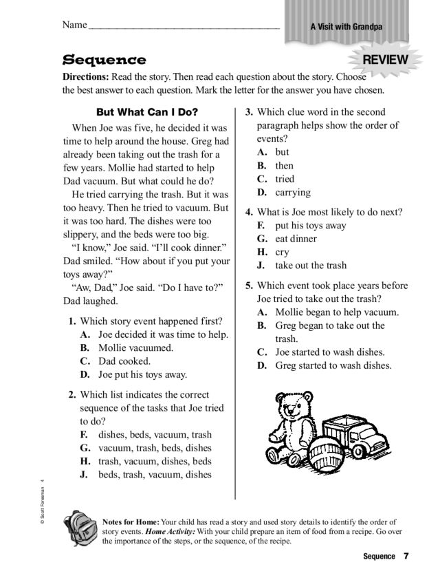 Sequence A Visit With Grandpa Worksheet For 3rd 4th Grade