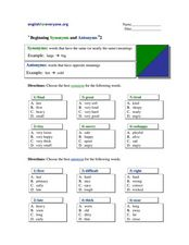 Beginning Synonyms and Antonyms #2 Worksheet