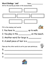 Word Endings 'and' Worksheet