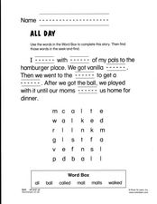 All Day Worksheet