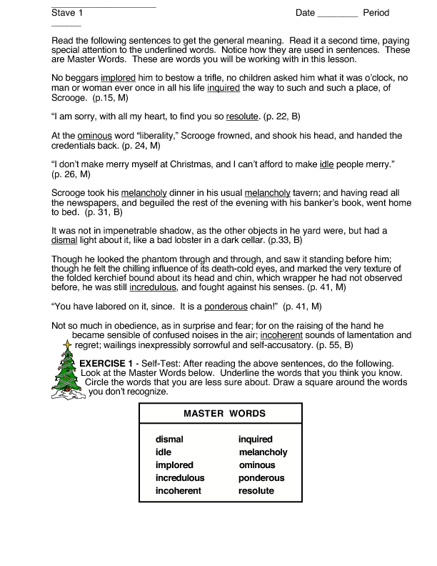Context Clues: A Christmas Carol Worksheet