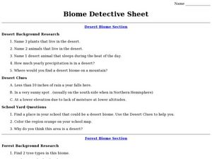 Biome Detective Sheet Worksheet