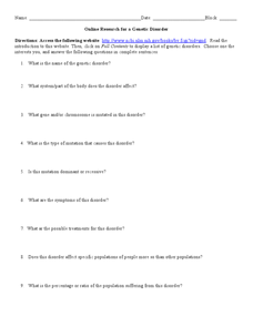 Online Research for a Genetic Disorder Worksheet