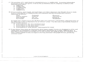 AP Biology Genetics Problems Worksheet