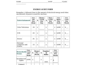 Energy Audit Form Worksheet