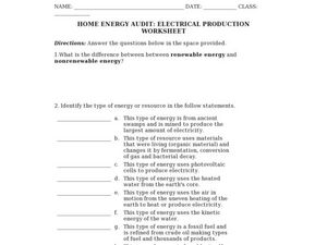 Home Energy Audit: Electrical Production Worksheet Worksheet