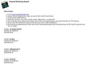 Internet Dictionary Search-Hearing Lesson Plan